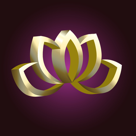 Gold lotus flower logo vector