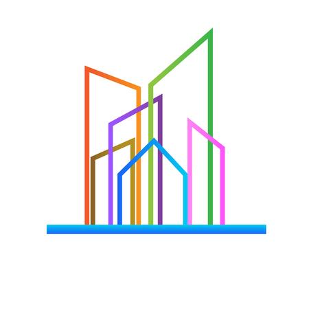 Modern colorful buildings icon vector Vectores