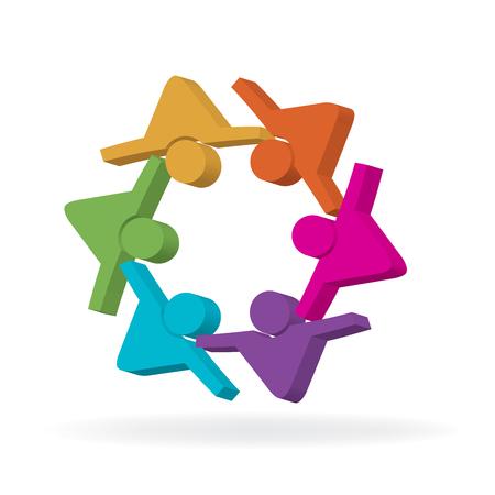 Teamwork friendship people vector illustration