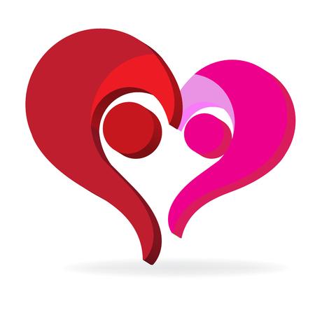 Imagen de vector de icono de símbolo de corazón familiar de amor de pareja Vectores