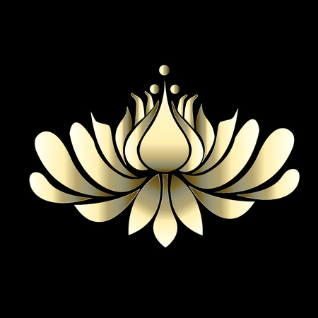 Lotus flower gold luxury vector