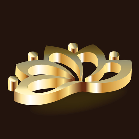 Lotus flower gold luxury icon Illusztráció