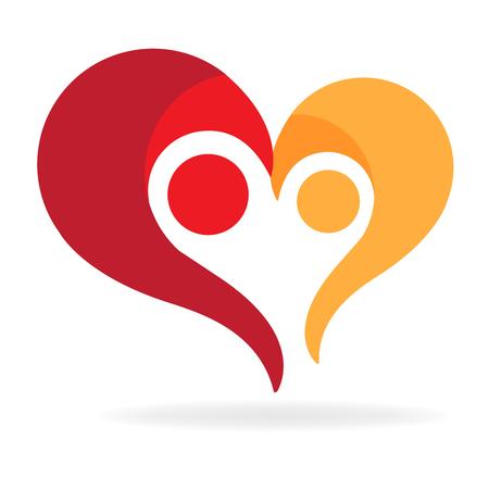 Couple family love heart symbol 矢量图像