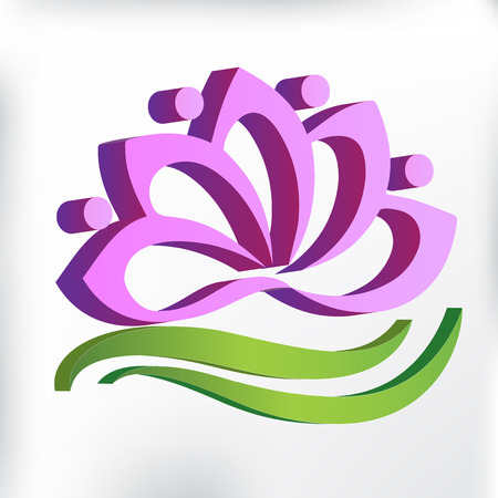 3D pink yoga lotus flower