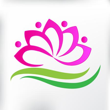 Spa massage lotus flower icon logo id card
