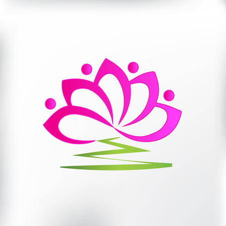 Lotus flower teamwork people vector