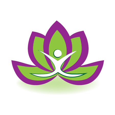Yoga man and lotus flower logo vector image Illustration