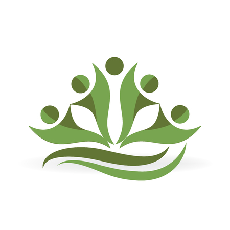 Teamwork green people  ecology business icon vector logo