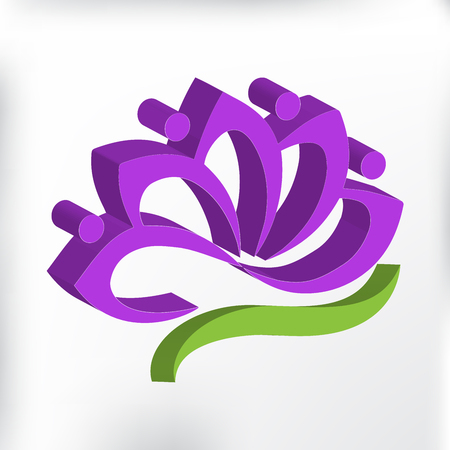 3D purple lotus flower logo vector image Illustration