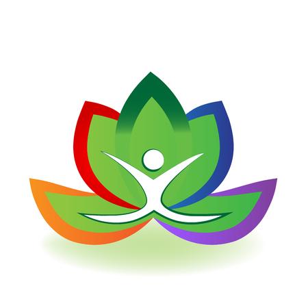 Yoga man and lotus flower logo vector image Illustration