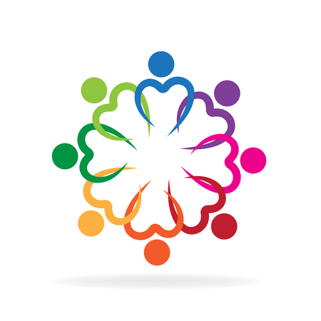 Teamwork love heart symbol unity charity friendship icon vector