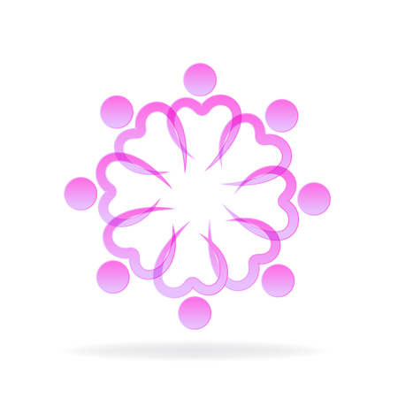 Teamwork love pink heart symbol unity charity friendship icon vector