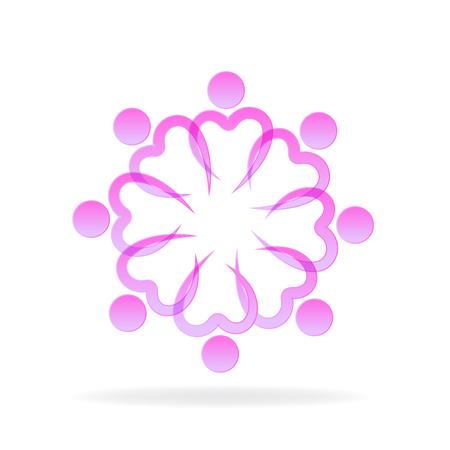Teamwork love pink heart symbol unity charity friendship icon vector
