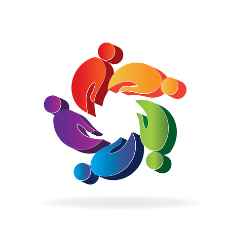 Hands 3D teamwork people icon vector Illustration