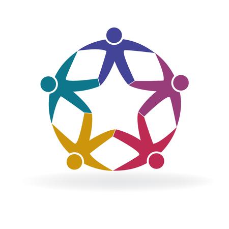 Forma de estrella de personas de trabajo en equipo en un vector logo de icono de círculo Logos