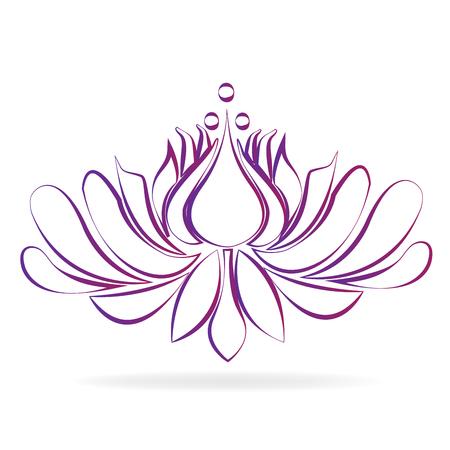 Beautiful purple blossom lotus flower stylized graphic design icon logo vector image