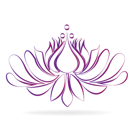 Beautiful purple blossom lotus flower stylized graphic design icon logo vector image