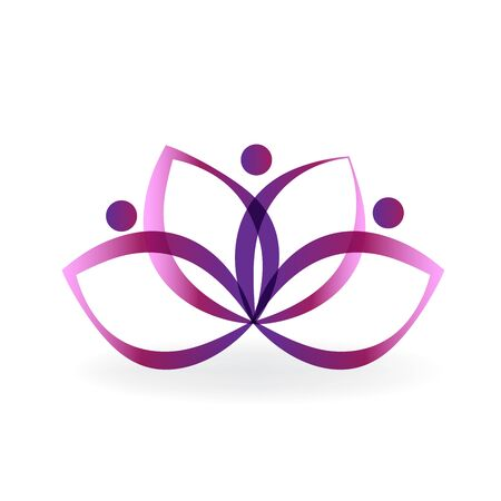 Lotus purple flower unity. People holding hands icon for fashion, business, icon vector image.