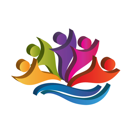Teamwork happy partners business icon vector logo image Vettoriali