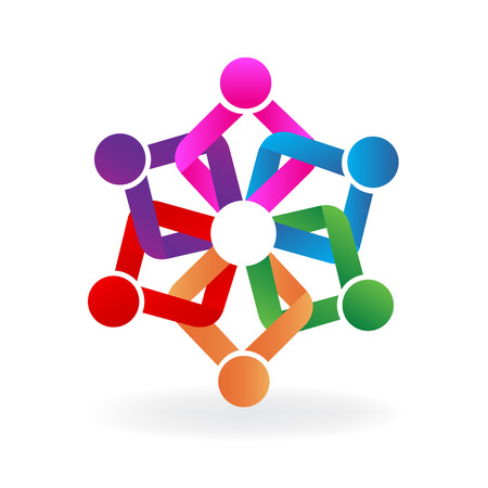 Teamwork holding hands embraced people business icon vector