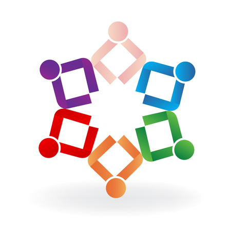 Teamwork people in a business meeting icon vector
