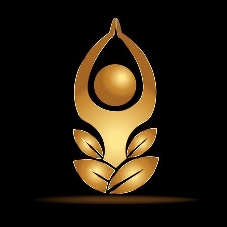 Yoga gold man vector Illustration