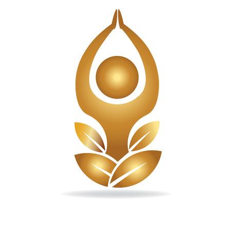 Gold lotus yoga man logo vector