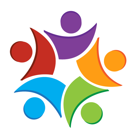 Teamwork business icon. Concept of community union goals solidarity partners children vector graphic. This icon template also represents colorful kids playing together, hugs and unity of workers, employees meeting.