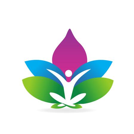 Yoga man lotus flower symbol