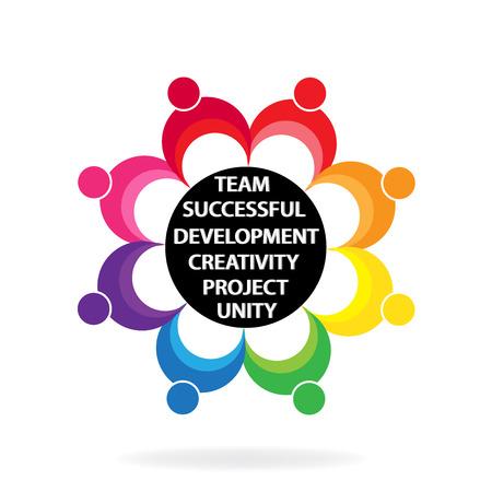 Teamwork unity people holding hands colorful vector logo design Illustration