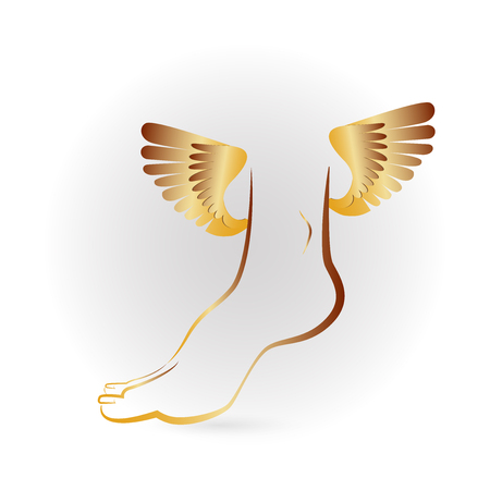 Gold foot and wings Vector illustration.
