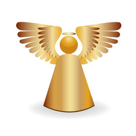 Angel gold icon symbol Stock Illustratie