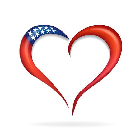 Love heart USA flag icon logo symbol vector