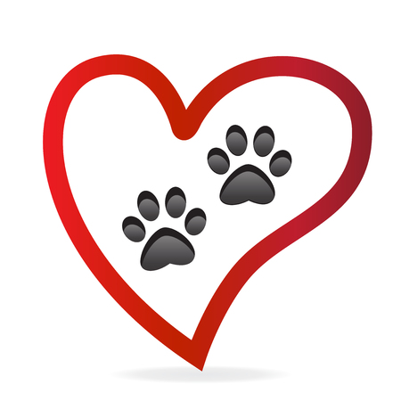 Paw pet inside of love heart logo vector icon.Paw prints pair