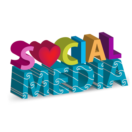 Social Media Word 3D image vector background design Иллюстрация