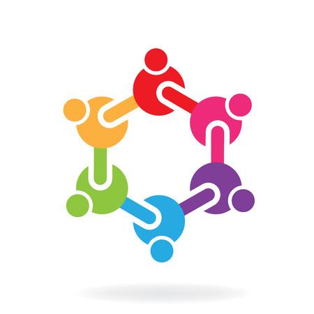 Teamwork group of people logo vector image