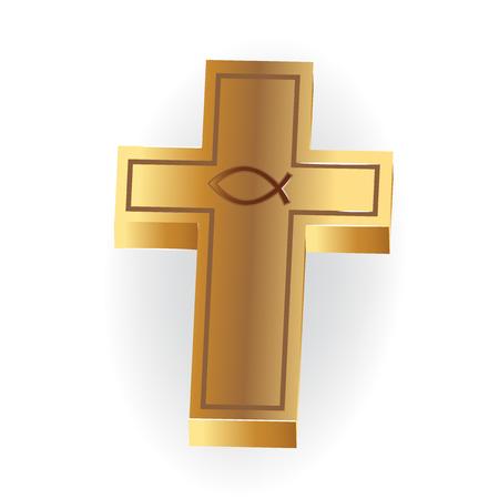 Gold Christian Cross image 3D symbol