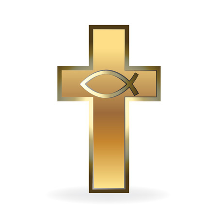 Gold Christian Cross image 3D vector symbol