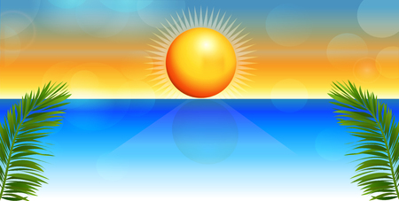 Tropical beach vector illustration background. Illustration