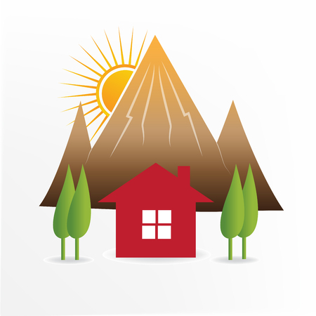 Red house and landscape  vector icon Illustration
