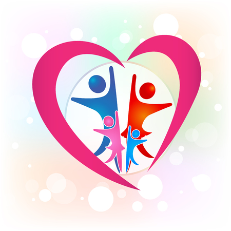 Family people in a love heart icon icon vector illustration.
