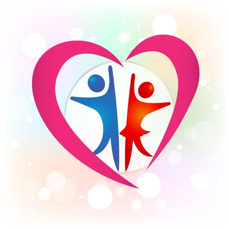 Couple love heart valentines symbol card logo image design