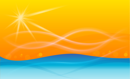 Sun and wavy beach background template Vectores