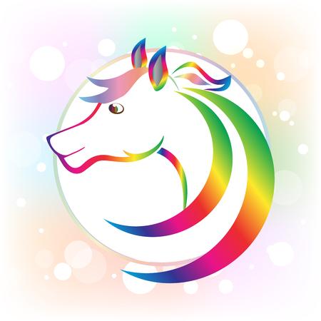 Horse beauty head frame icon logo vector image Ilustração