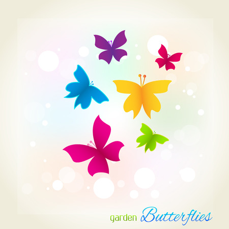 Butterflies garden cover template vector image Illustration