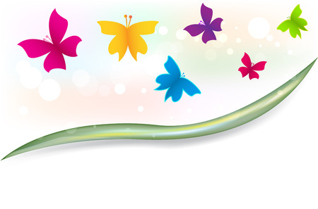 Butterflies garden in vivid colors and copy space graphic template