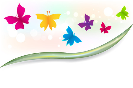 Butterflies garden colorful template vector image Illustration