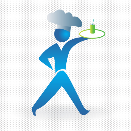 Cook blue figure icon vector logo image template Illustration