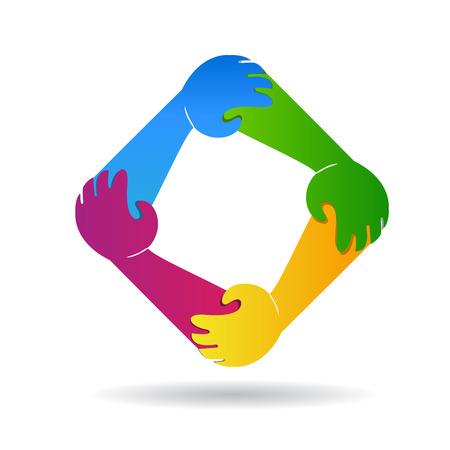 Teamwork unity hands identity card vector icon design illustration. Illustration