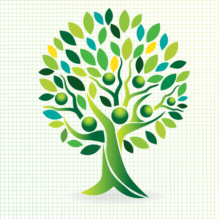 Tree family people green leafs . Ecology logo concept icon vector design Stock fotó - 93455561